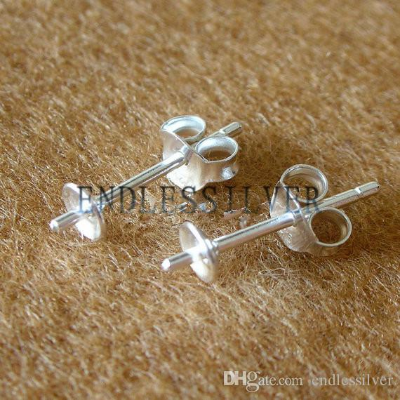925 Sterling Silver Earring Post with Peg and Earring Backs Jewellery Making Solid 925 Silver Ear Studs