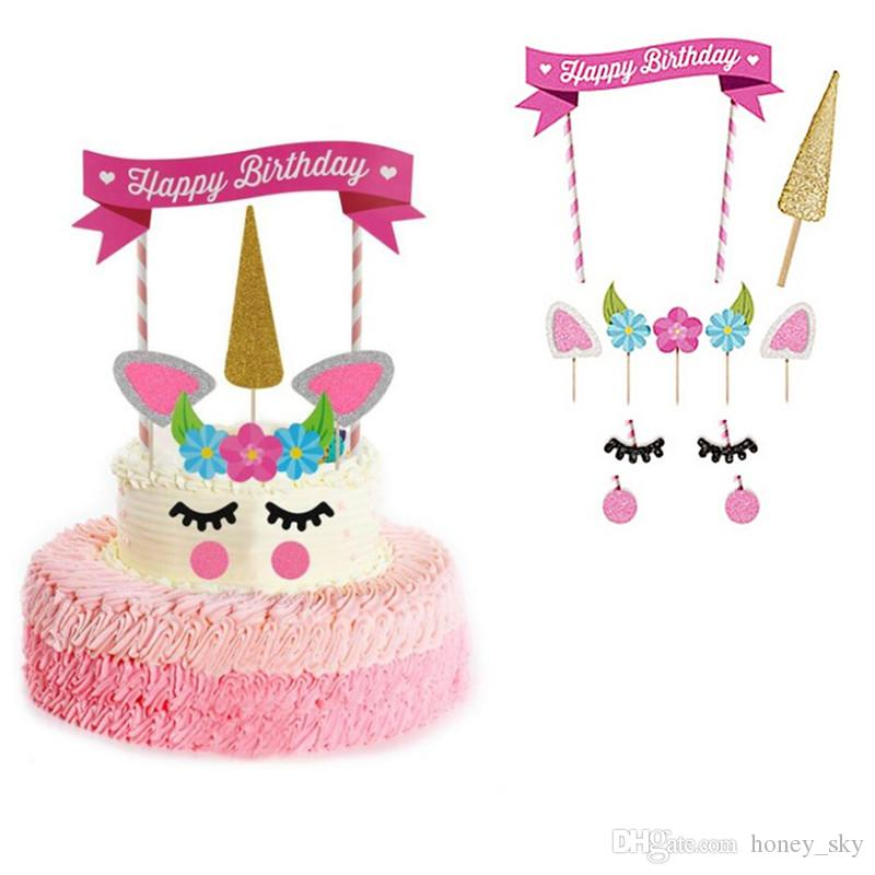 Grosshandel 1 Satz Handgemachte Rosa Einhorn Party Cake Topper Hochzeit Cupcake Dekoration Happy Birthday Supplies Baby Kinder Kuchen Zubehor Von