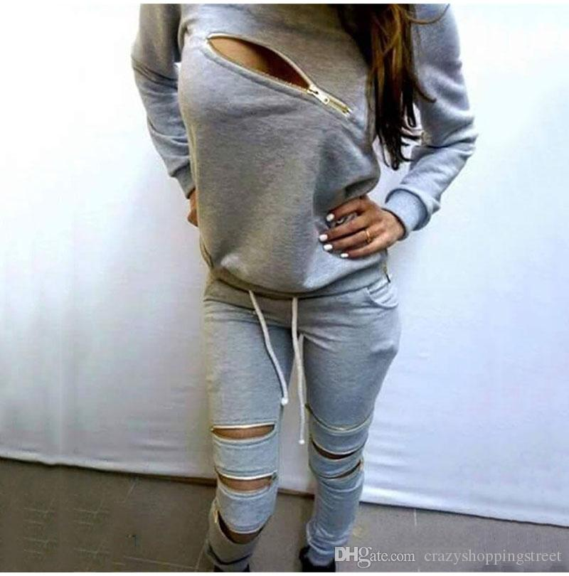 Women's Tracksuit Two Piece Clothing Set Autumn Sexy Zipper Sweatshirt Pant Outfit Female Sportswear Sweat Suit Costume