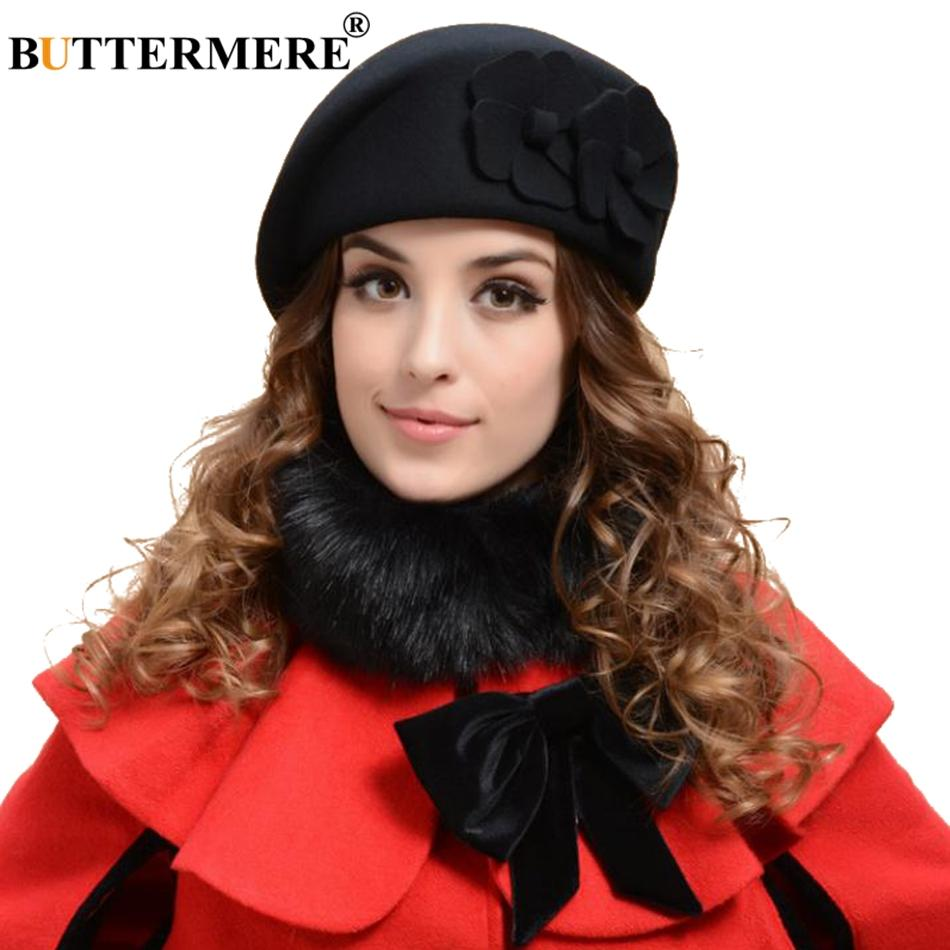 2019 BUTTERMERE Black French Beret For Women Wool British Painters Hat  Ladies Elegant Flower Solid Female Autumn Artist Cap Red Camel From Baozii fe032098726