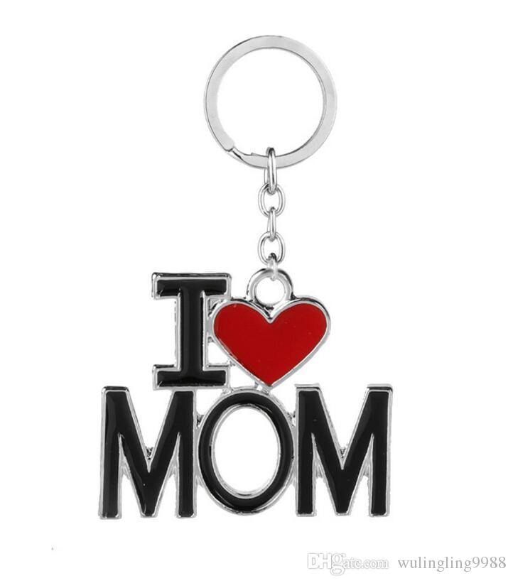 I Love DAD MOM MAMA PAPA Keychain Letter Red Heart Love Key Chains Rings Fashion Jewelry for mother father Gift