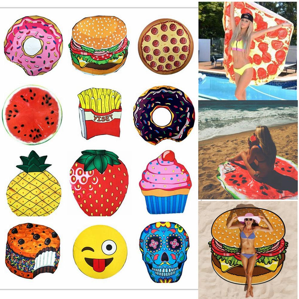 Food Pattern Round Beach Towel With Tassel 12 Styles 150*150cm Summer Printed Bath Towels Swimming Plage Sunbath Yoga Mats AAA305