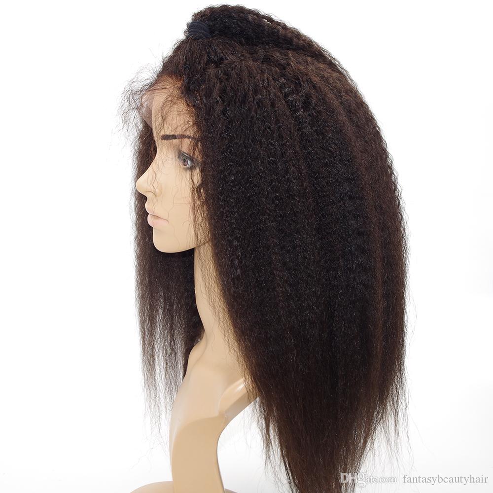 Italien Yaki 360 Dentelle Frontale Perruque Pré Plumée Kinky Droite Brésilien Remy Sans Colle Full Lace Avant de Cheveux Humains Perruques pour les Femmes Noires