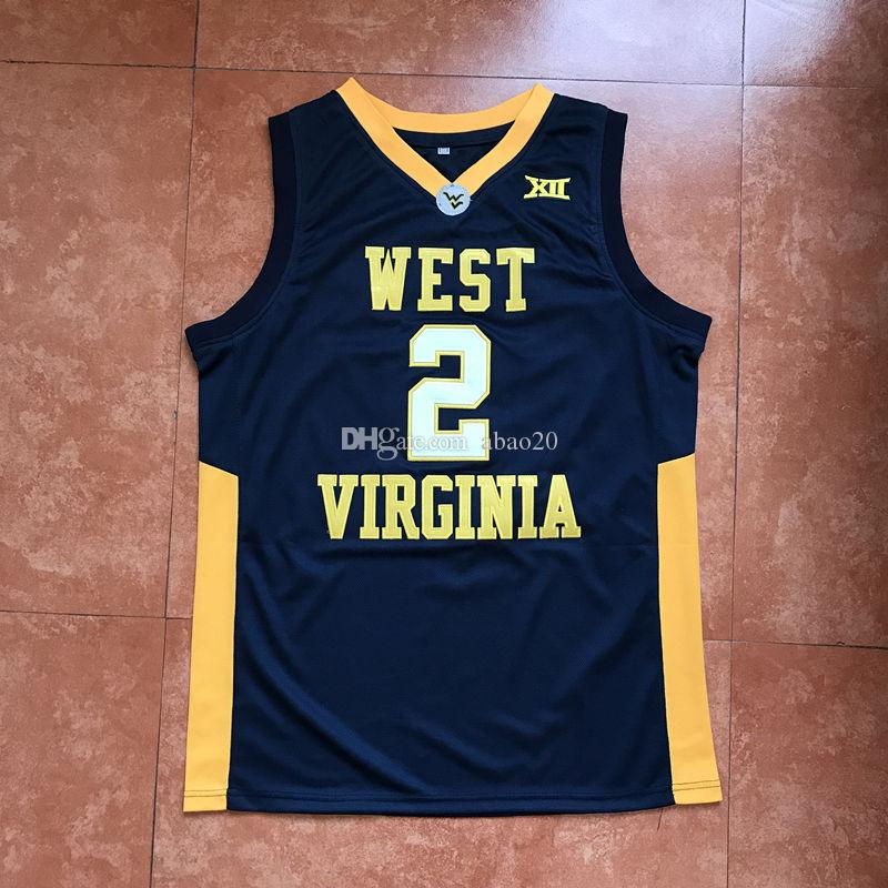 low priced 95075 fc3b7 #2 Jevon Carter West Virginia College Classic Basketball Jersey Men's  Embroidery Stitches Customize any Number and name Jerseys
