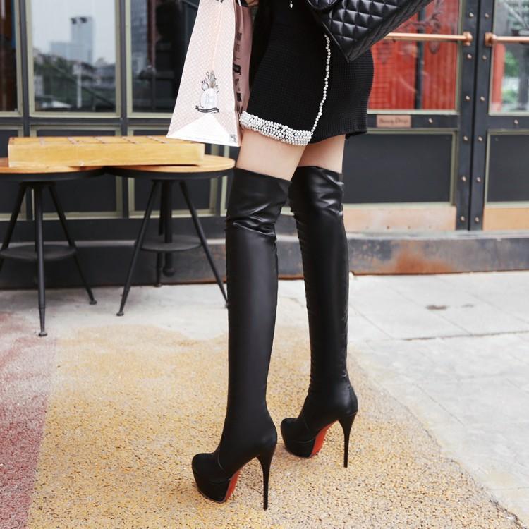 Sexy Donna Donna Sexy rosso Bottom High Heels Thigh High Stivali High Quality PU   8cefa4