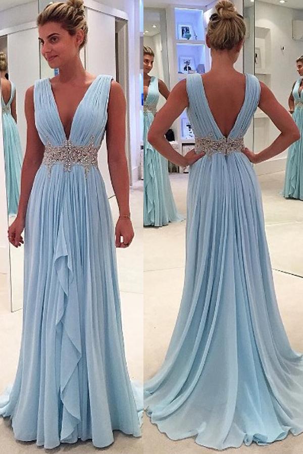 V-Ausschnitt eine Linie Sweep Zug Kristall Schärpe ärmelloses Chiffon hellhimmelblau sexy glamourösen Abendkleid Abendkleid