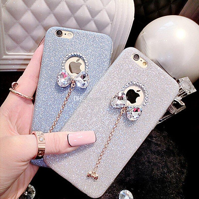 Phone Shine Rhinestone Cases For Telefoon Hoesjes iPhone 5s 6S 7/8 Plus Capa Crystal Bling Glitter Powder Cover Mobile Case