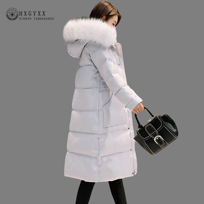 pretty nice bd44b f739f Piumino bianco piumino d oca Donna Piumino d oca lungo cappotto invernale  Pelliccia sintetica Parka femal spesso caldo Capispalla 2018 Okd364