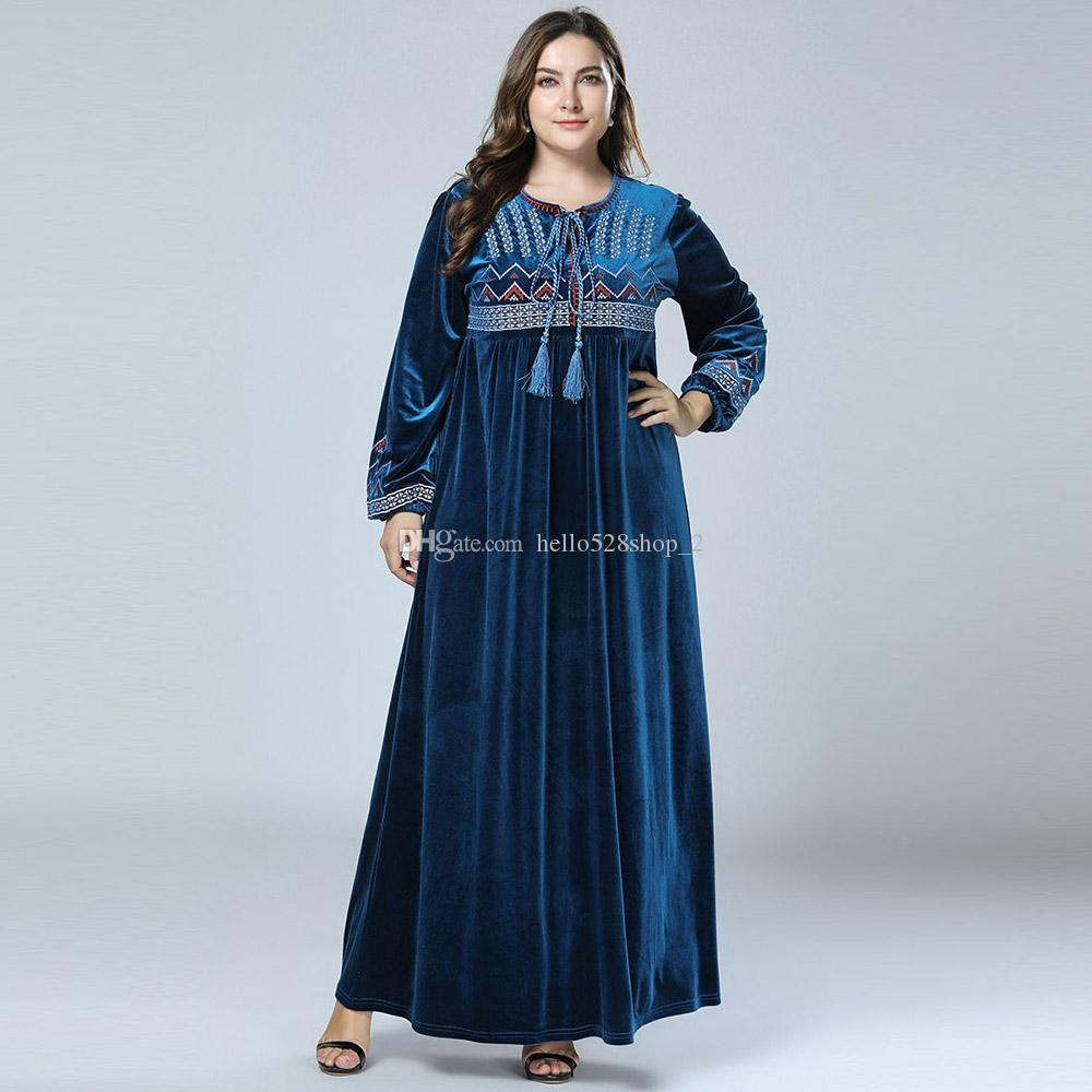 Womens Long Sleeve Flowy Plus Size Maxi Dress Fashion Simple Design ...