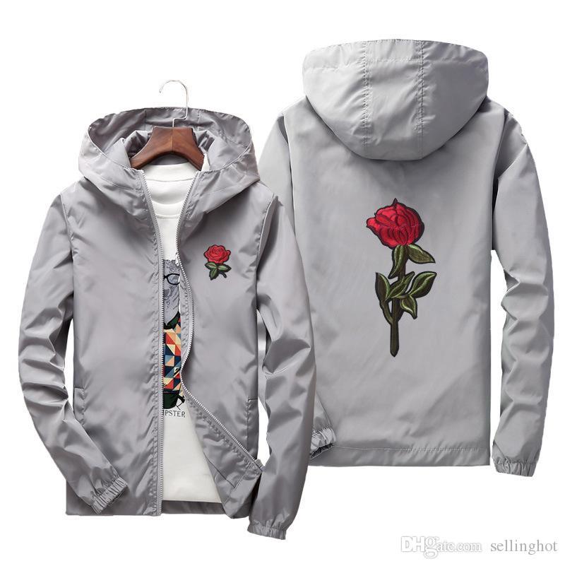 a6b8252ced61 2018 Rose Floral Men s Lightweight Jacket With Hat Thin Waterproof Hooded  Jacket Winderbreaker Jacket Men   Women Lover Casual Coats Men Jackets  Online with ...
