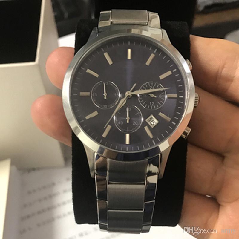 New AR2448 2448 Quartz Chronograph mens Watch Japan Movement Stainless Steel Strap Gents Wristwatch + Original box