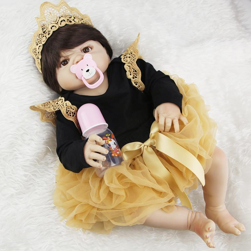 NPK 23inch Full Silicone Reborn Baby Dolls Princess Adorable Kids  Brinquedos Toy The Best Gift for Girls daughter Reborn Baby Doll Silicone  Reborn Baby ... d08927a31f23