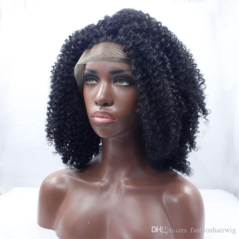 Melhor Qualidade Curto Afro Crespo Encaracolado Perucas Sintéticas Peruca de Cabelo Encaracolado África Americano Cor Natural Peruca Dianteira Do Laço Sintético para mulher negra