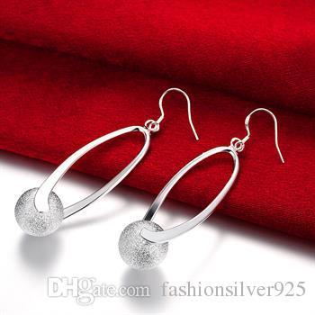 - розничная низкая цена рождественский подарок 925 серебряный матовый мяч серьги E049