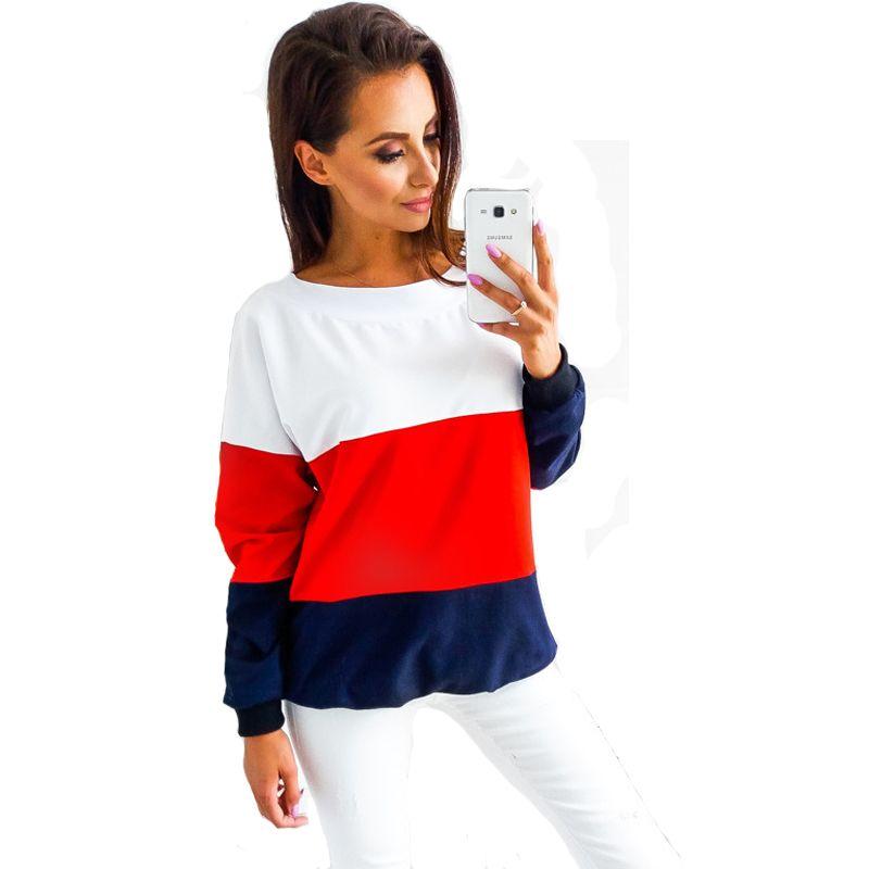 00b6a3f7817 Discount Womens Sweatshirt Long Sleeve Striped Top Crew Neck Casual ...