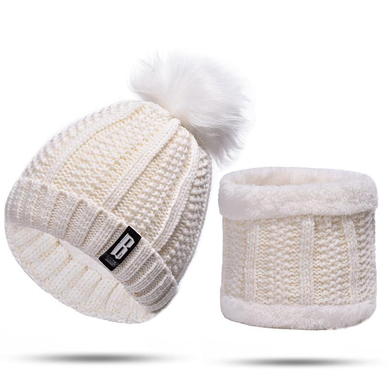 Lakysilk White Cap Winter Beanies Hat And Lic Snood Set For Girls Ladies  Skullies   Beanies With Pompom Women Knitted Velvet Hat Trucker Hats Winter  Hats ... 16bbb891052