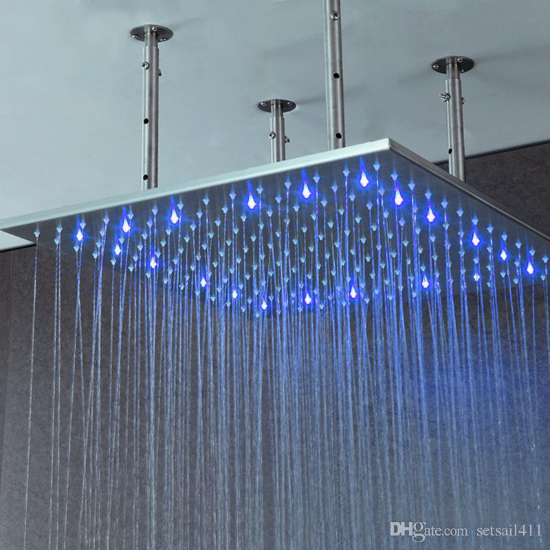 2018 Bathroom Rainfall Big Shower Heads 40 Inch Led Light Showerhead ...