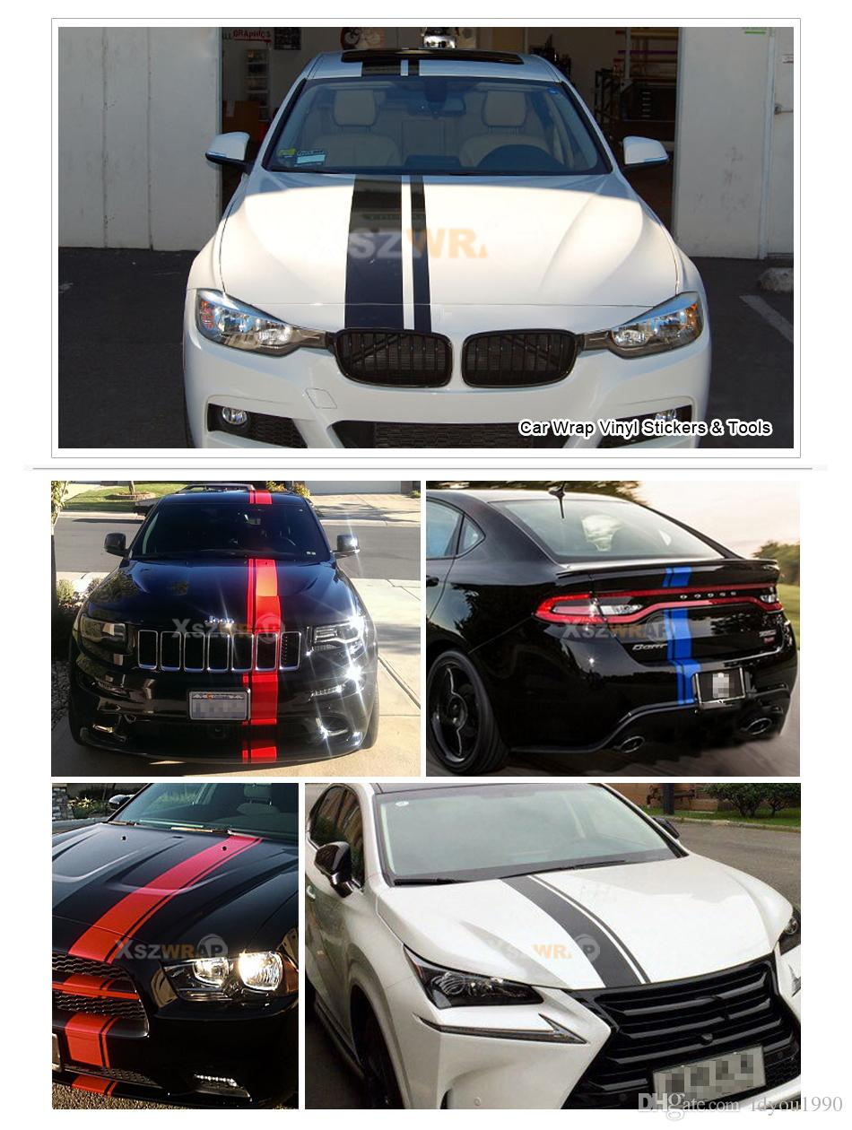 "15*450cm/Roll Car Styling 175"" Vinyl Racing Stripe Decal Sticker For RCZ 308 VW Beetle 180TSI Scirocco Golf Tiguan DS5"
