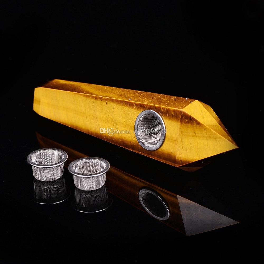 100% natural tiger eye quartz crystal smoking pipe cigarette holder wands filter screen strainer healing gifts