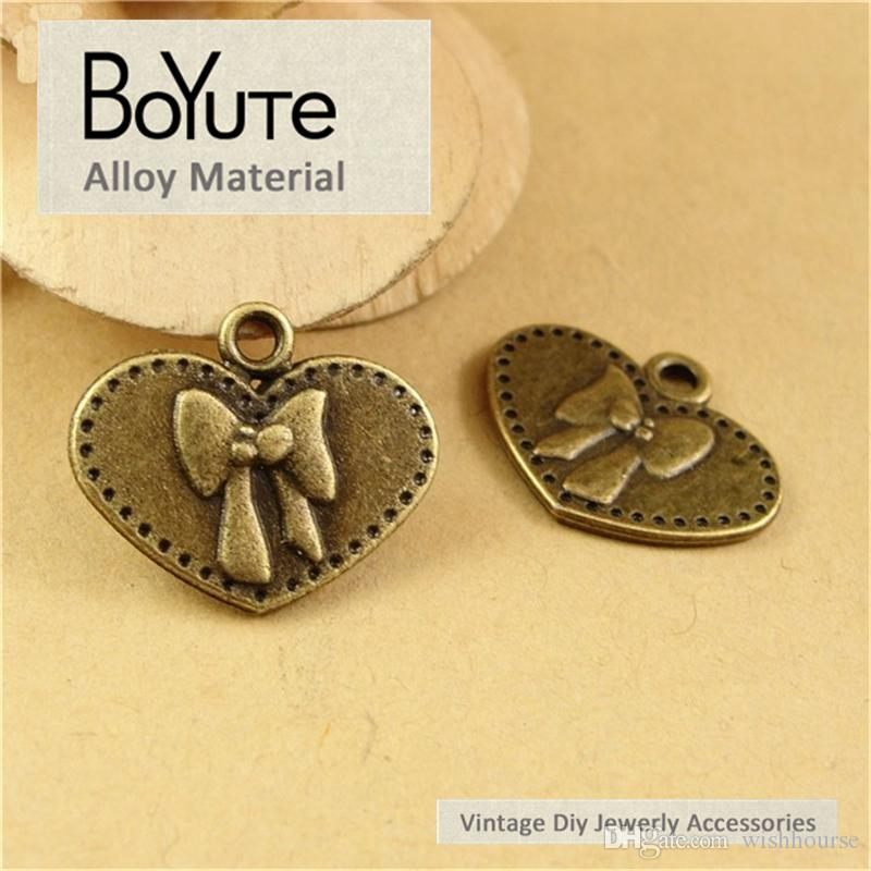 BoYuTe / 16*19MM Jewelry Accessories Parts Antique Bronze Plated Bowknot Pendant for Jewelry Making Diy Necklace Bracelets