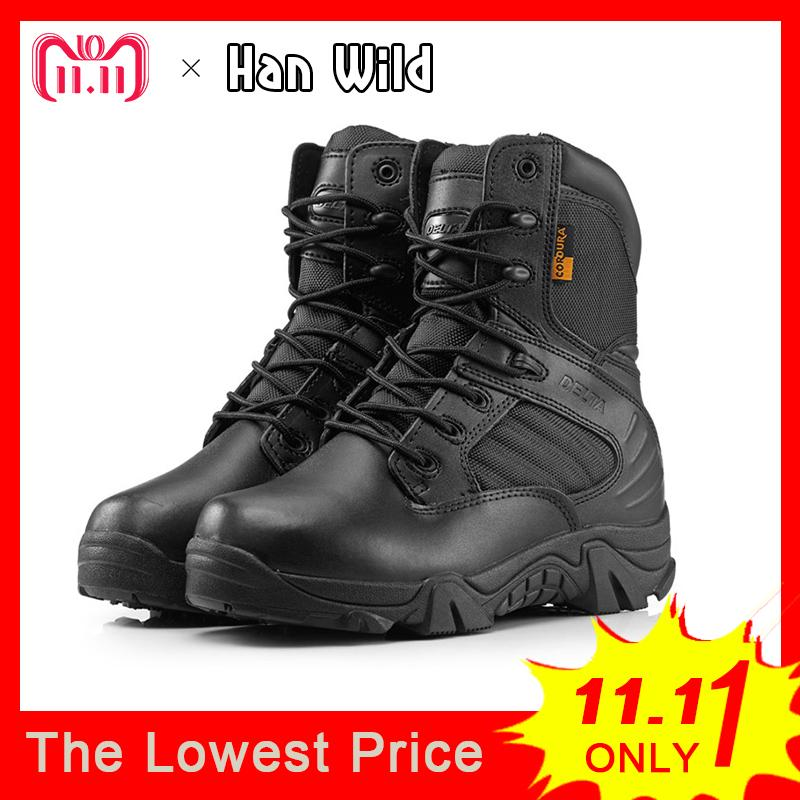 b6d50ffc2732d Men Military Tactical Boots Winter Leather Black Special Force Desert Ankle  Combat Boots Safety Work Shoes Army Boots