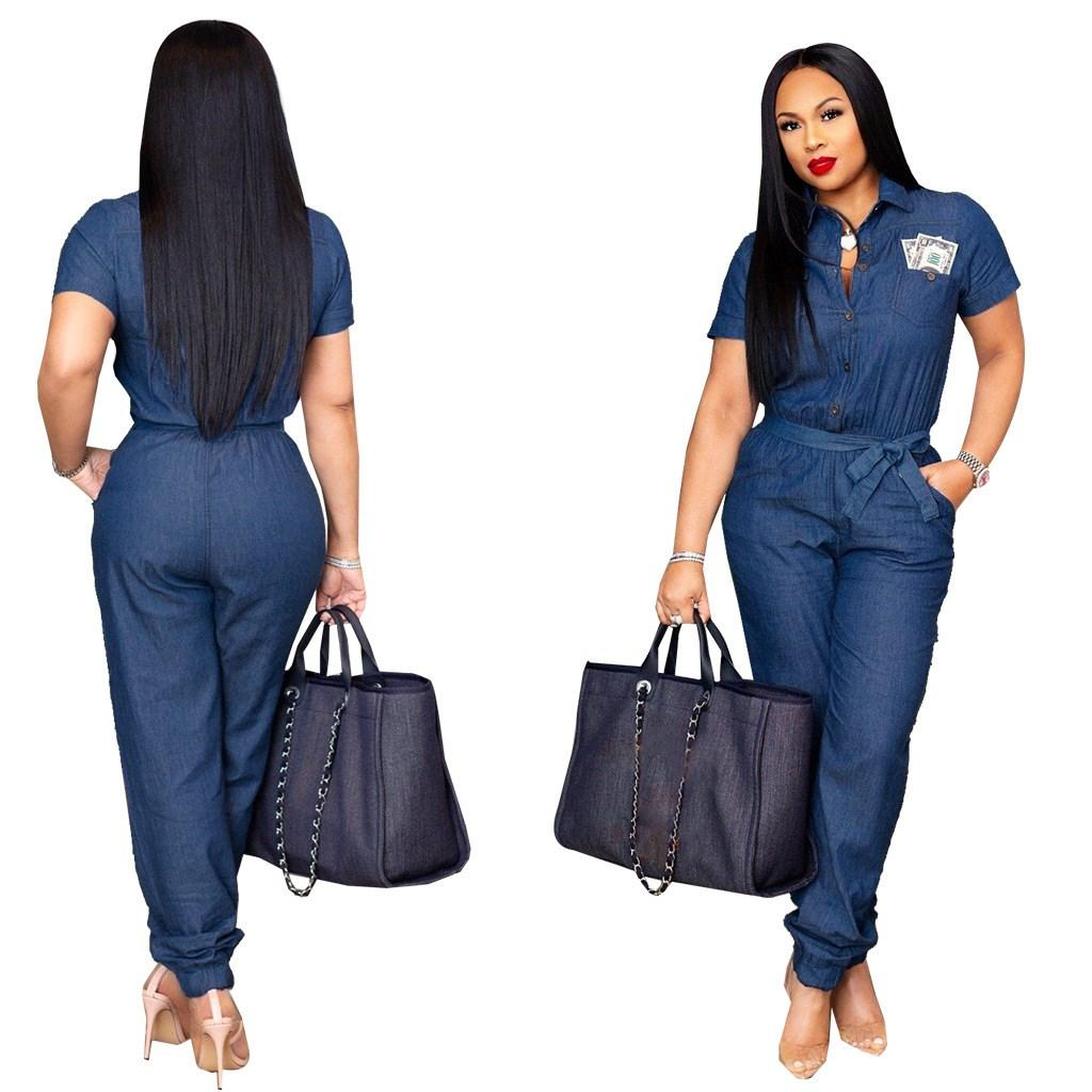 3f07e16453c5 Womens short sleeve vintage long denim jumpsuit blue turn down collar  casual jean romper overalls from