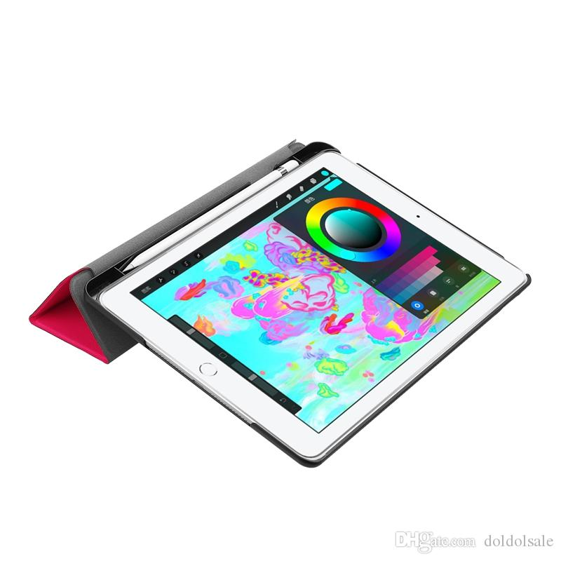 Funda de cuero ultra delgada de PU para nuevo iPad Pro 9.7 pulgadas 2018 Tablet Book Flip Cover con Stand + Stylus Pen