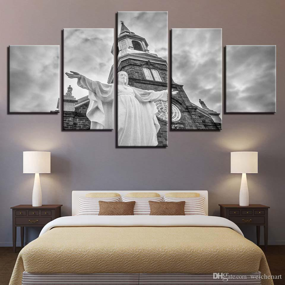 Canvas Paintings Living Room Wall Art Framework 5 Pieces Christ Jesus Church Pictures HD Prints Christianity Posters Home Decor