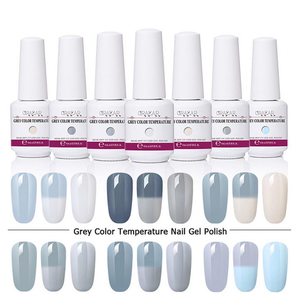8ml Temperature Change Nail Polish Soak Off UV Gel Color Change Nail ...