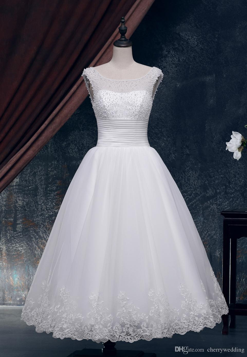 Discount Tea Length Ball Gown Wedding Dresses Vintage Wedding Dress ...