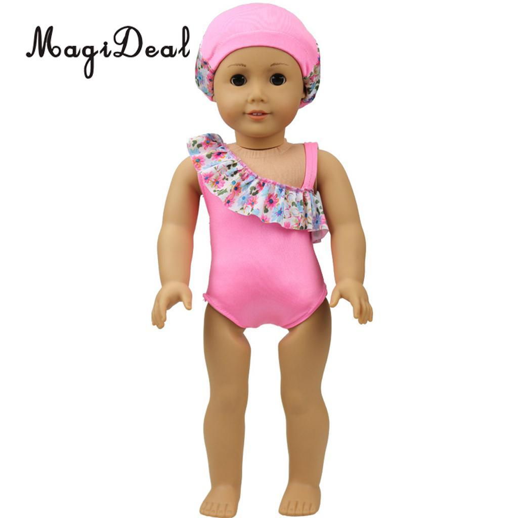 Magideal Cute Pink Swimwear Swimsuit With Swim Hat Outfit For 18