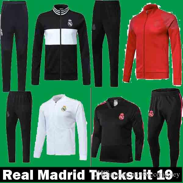 3988a6e486959 2019 New 2018 2019 Real Madrid Home White Away Blue Black Training Suits  Uniforms Jackets+Pants Tracksuit 18 19 Football Survetement Hoodies From ...