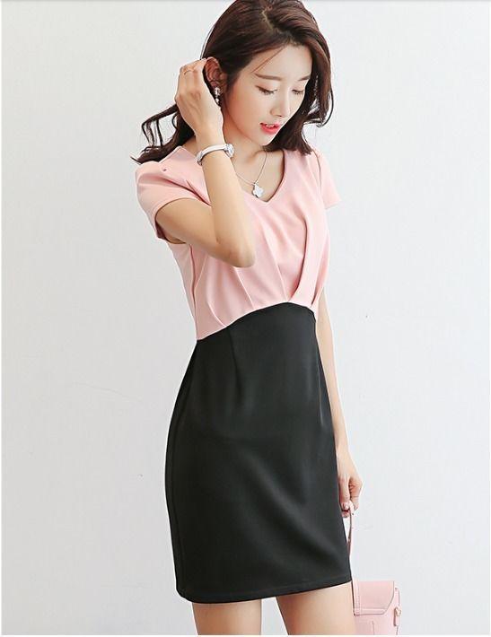 45033c5271a Elegant Sweet V-neck Color Spliced Korean Style Slim Waist Casual Summer  Dress Online with  12.35 Piece on Angelsdress s Store
