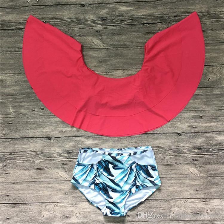 Bikinis de las mujeres 2018 del sistema del Bikini de la impresión del volante del hombro 8 estilos S-2XL más tamaño del traje de baño desgaste de la playa de la alta cintura para las vacaciones de verano