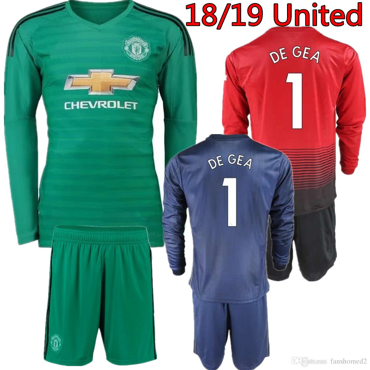 34cac2b3d8d 2019 2018 2019 Long Sleeve  1 De Gea Jersey Goalkeeper Soccer Sets 18 19  Goalie David De Gea Romero Green United Adults Full Football Kit Uniform  From ...