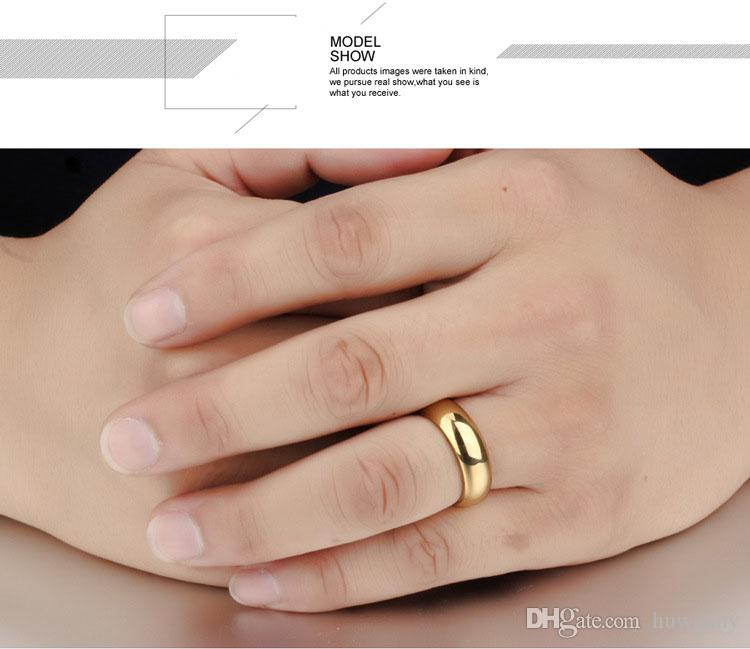 Gold Smooth Rings Jewelry Hot Sale Stainless Steel Band Finger Ring Women and Men Fashion Jewellery Wholesale 0698WH