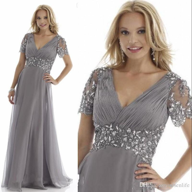 Elegant Grey Mother Of The Bride Dresses Crystal Chiffon Pleats V ...