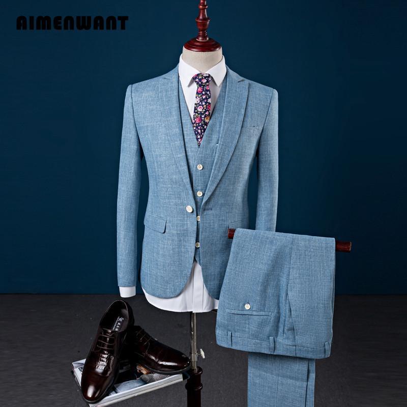 Acheter AIMENWANT Coréen Mode Costume De Lin Ensembles Veste + Pantalon +  Gilet + Cravate Pour Hommes 2017 Dernière Conception One Button Costumes De  ... c8201231f83