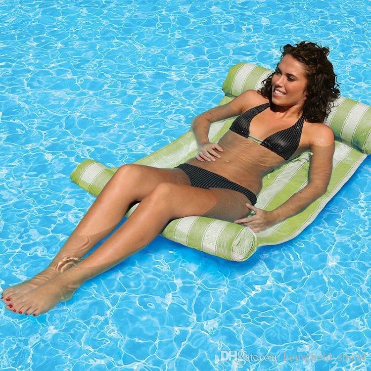 수영장 풍선 쿠션 스트라이프 플로팅 슬리핑 침대 워터 해먹 라운지 의자 플로팅 침대 야외 해변 풍선 에어 매트리스