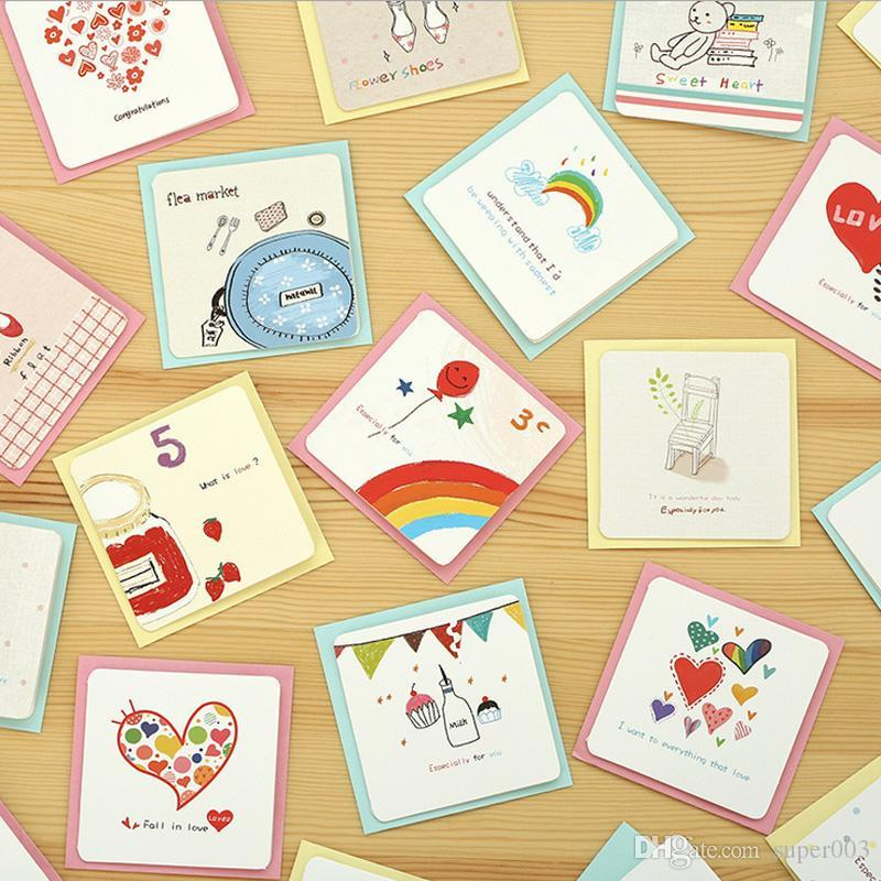 6 Card + 6 Envelope /Cartoon Mini Greeting Card Thank You Birthday ...