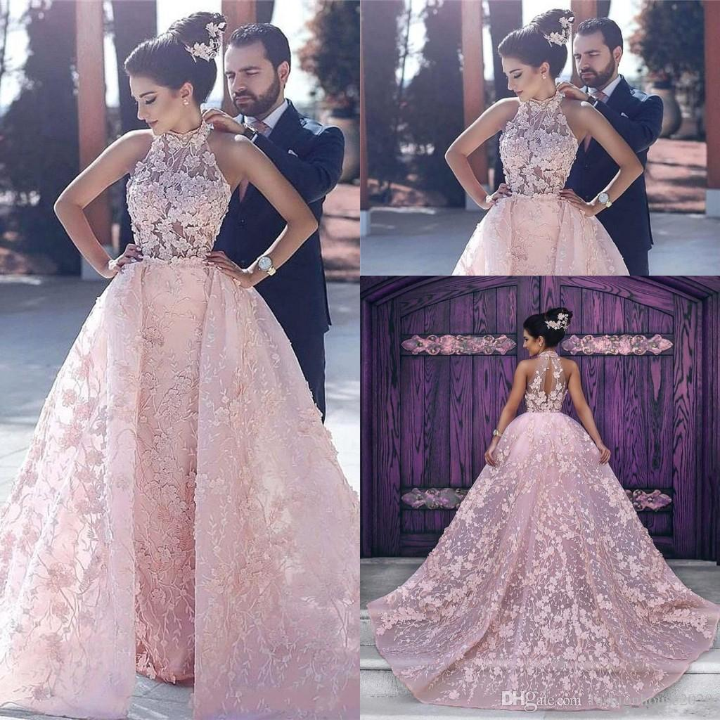 f49fcbc596176 2018 Ball Gown Wedding Dresses High Neck Pink Lace Applique 3D Floral  Flowers Illusion Hollow Back Arabic Dubai Overskirts Long Bridal Gowns
