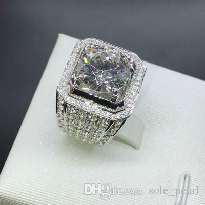 Mens Ring Hip Hop Jewelry Zircon Iced Out Rings Luxury 925 Sterling