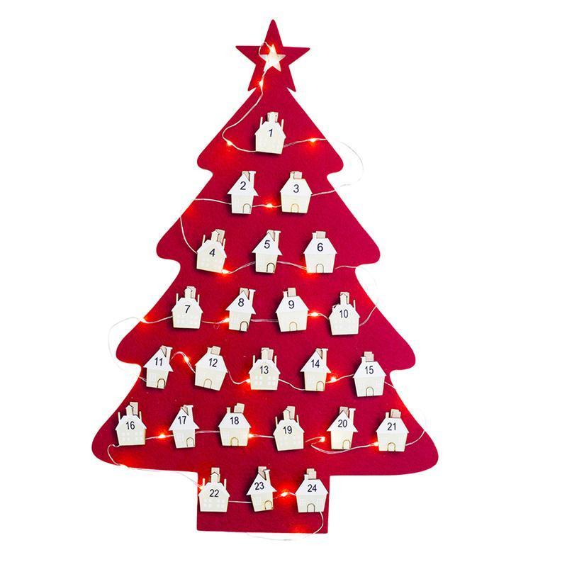 Calendario Dellavvento In Feltro.Appeso Albero Di Natale Di Feltro Calendario Conto Alla Rovescia Per Natale Calendario Dell Avvento Per Decorazioni Per Bambini Rosso