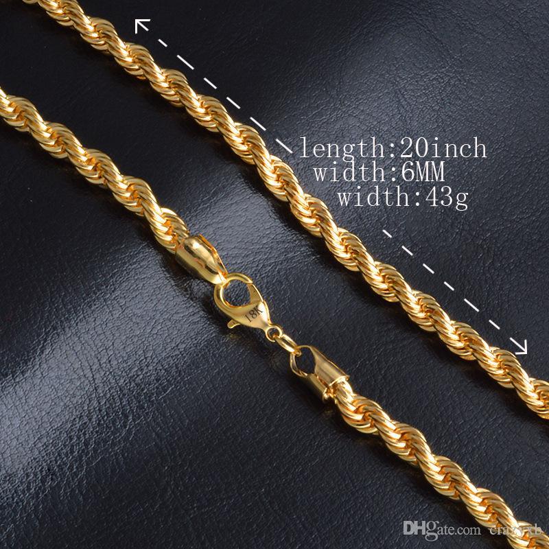 hohes Ansehen billigsten Verkauf sehr günstig Großhandel Herren Gold Kette Halskette 6MM Lange Halskette Für Männer 20  Zoll Gold Farbe Edelstahl Gliederkette Halsketten Männer Collier Von  Crazyxb, ...
