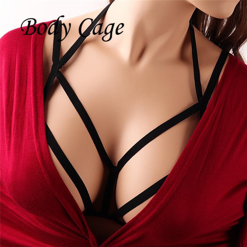 e59d06c6d19e4 Body Cage Black Elastic Harness Bra Bondage Strappy Tops Lingerie ...