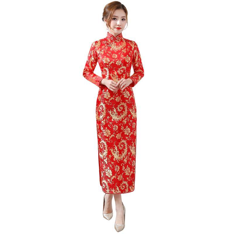 16f82150 Compre Señoras Collar Mandarín Elegante Cheongsam Vestidos Rojo Chino  Vestido De Matrimonio De La Vendimia Nuevo Estampado Floral Largo Sexy  Qipao S XXL A ...