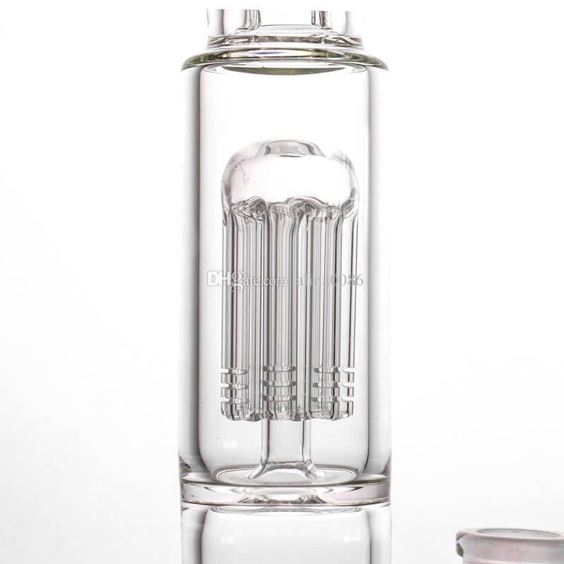 18 incht hohes glas bong 8 armbaum perc huka bongs doppelkuppel percolator 5mm dicke wasserleitung