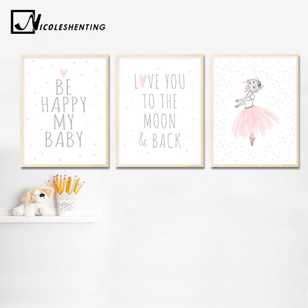 Satın Al Kawaii Bebek Kız Kreş Duvar Sanat Tuval Boyama Pembe