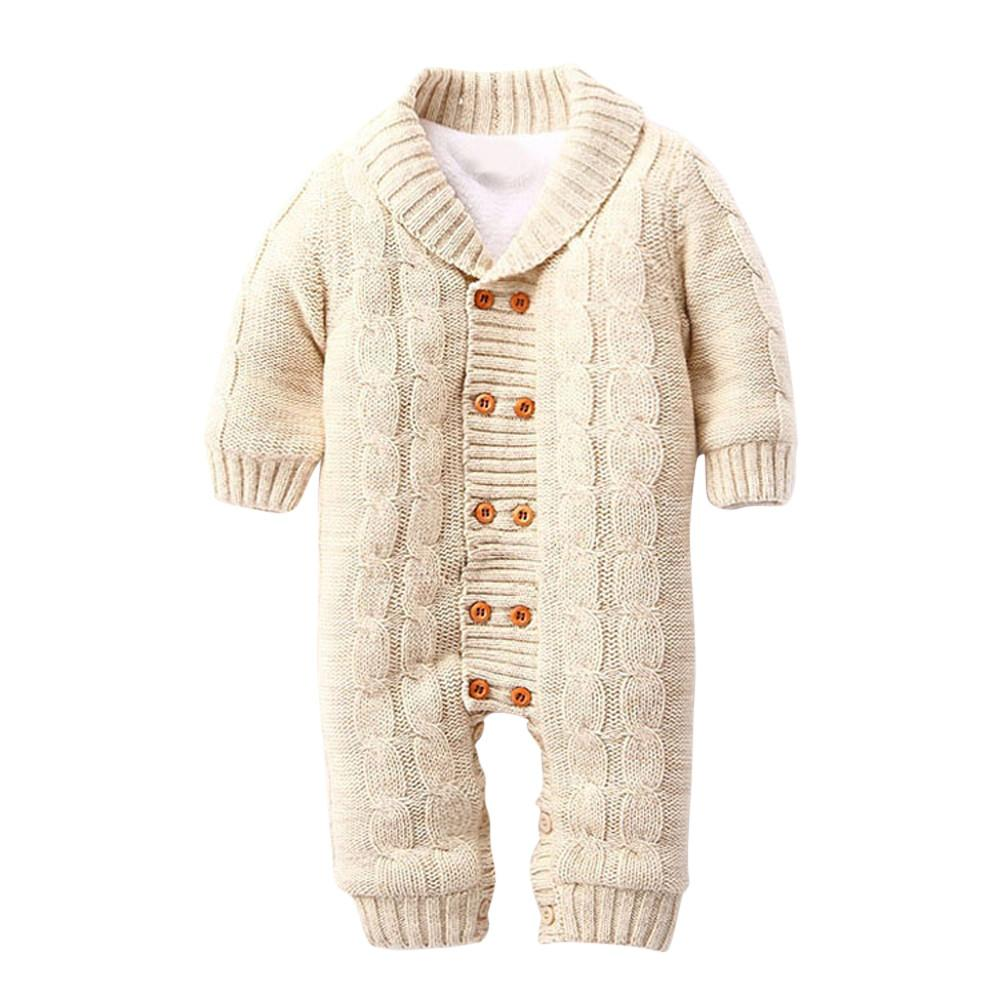 c869dc193 2019 Infant Newborns Baby Boy Girl Button Romper Lapel Knitted ...