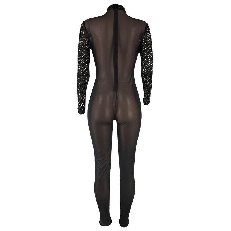 판매 섹시한 Jumpsuit 여성 파티 Clubwear 메쉬 Bodycon Playsuit Villows Romper Rhinestones F0435 긴 소매 반짝이 블랙